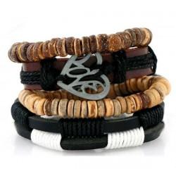 Leather Wooden Shape Bracelet (B-23)